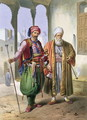 A Janissary and a Merchant in Cairo, illustration from The Valley of the Nile, engraved by Charles Bour 1814-81 pub. by Lemercier, 1848 - Emile Prisse d'Avennes