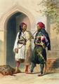 Arnaout and Osmanli Soldiers in Alexandria, illustration from The Valley of the Nile, engraved by Mouilleron, pub. by Lemercier, 1848 - Emile Prisse d'Avennes