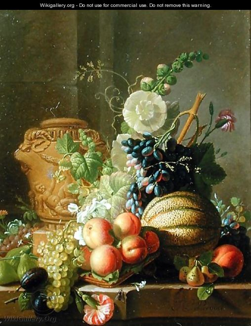 Still Life with Fruit on a Ledge - Jean-Louis Prevost