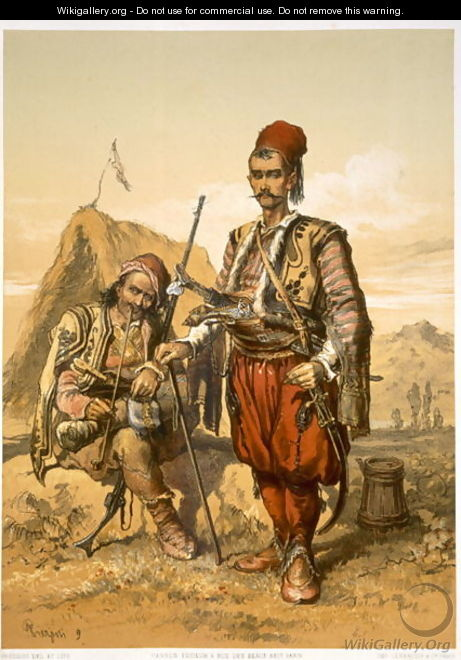 Turkish foot soldiers in the Ottoman army, pub. by Lemercier, c.1857 - Amadeo Preziosi