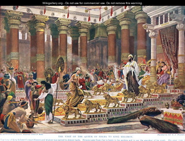 The Visit of the Queen of Sheba to King Solomon, illustration from Hutchinsons History of the Nations, early 1900s - Sir Edward John Poynter