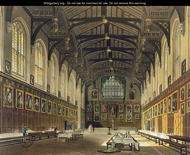 Interior of the Hall of Christ Church, illustration from the History of Oxford engraved by J. Bluck fl.1791-1831 pub. by R. Ackermann, 1814 - (after) Pugin, Augustus Charles