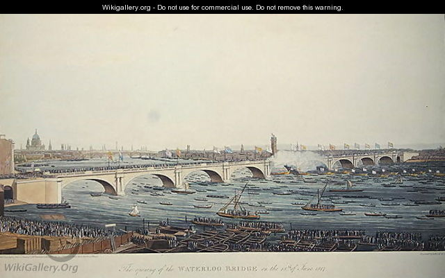 The Opening of the Waterloo Bridge on the 18th of June, 1817, etched by A. Pugin from a drawing by W. Findlater, engraved by R. Havell and Son, 1818 - Augustus Charles Pugin