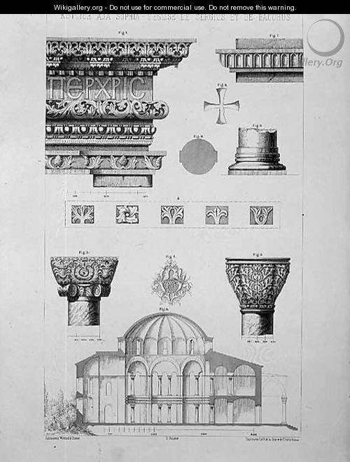 Cross section and architectural details of Kutciuk Aja Sophia, the church of Sergius and Bacchus, from Church Architecture of Constantinople, pub. by Lehmann and Wentzel of Vienna, c.1870-80 - (after) Pulgher, D.