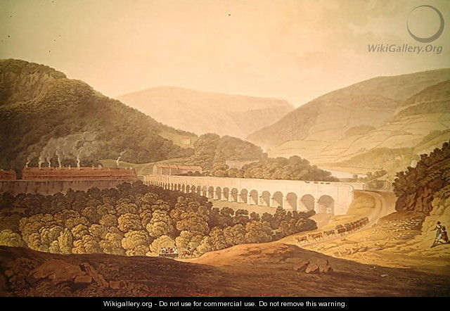 View of a Stone Bridge across the Valley and River at Risca in Monmouthshire - (after) Pugh, Edward
