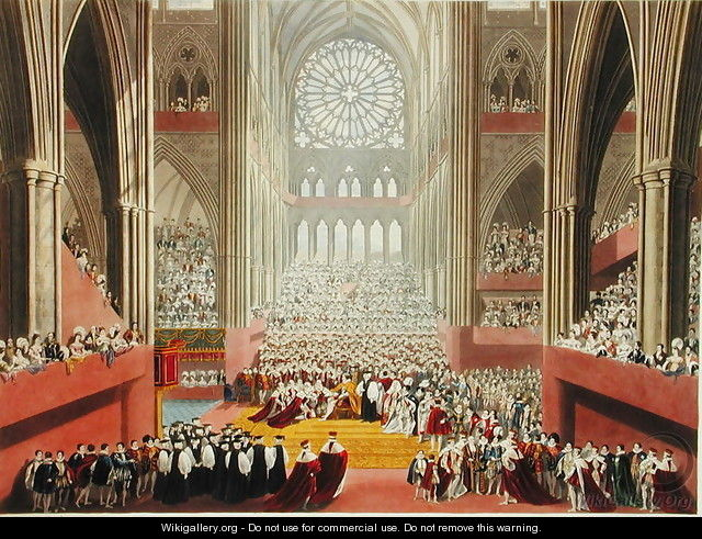 The Ceremony of the Homage, 19th July 1821, from an album celebrating the Coronation of King George IV 1762-1830 engraved by William James Bennett 1787-1844 published 1824 - (after) Pugin, A.W. and Stephanoff, J.
