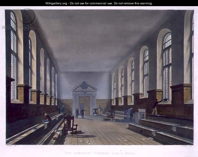 The Merchant Taylors School Room, from History of Merchant Taylors School, part of History of the Colleges, engraved by Joseph Constantine Stadler fl.1780-1812 pub. by R. Ackermann, 1816 - (after) Pugin, Augustus Charles