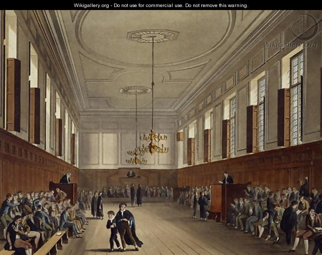 Eton School Room, from History of Eton College, part of History of the Colleges, engraved by Joseph Constantine Stadler fl.1780-1812 pub. by R. Ackermann, 1816 - (after) Pugin, Augustus Charles