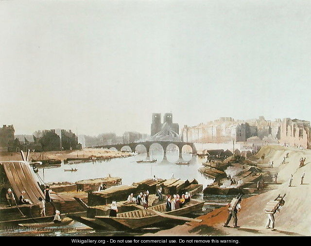 Notre Dame, Ile de la Cite, Ile Saint Louis and the Pont de la Tournelle, 1821 - (after) Pugin, Augustus Charles