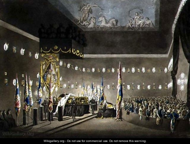 Remains of Lord Viscount Nelson Laying in State in the Painted Chamber at Greenwich Hospital, engraved by J. Merigot, pub. 1806 - (after) Pugin, Augustus Charles