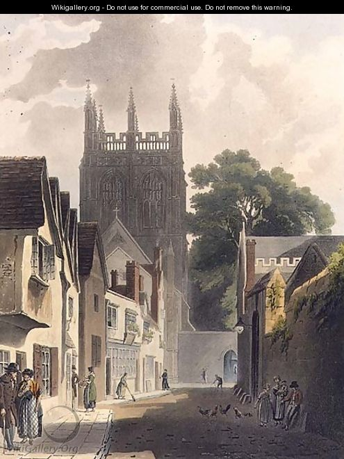 Magpie Lane, Oxford, illustration from the History of Oxford engraved by J. Bluck fl.1791-1831 pub. by R. Ackermann, 1813 - (after) Pugin, Augustus Charles