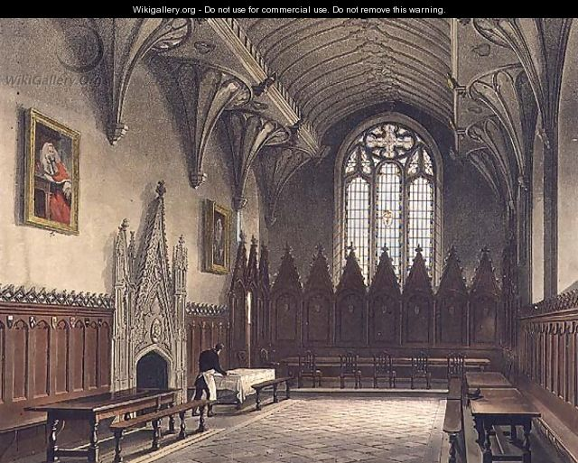 Interior view of the hall of University College, illustration from the History of Oxford, engraved by J. Hill, pub. by R. Ackermann, 1814 - (after) Pugin, Augustus Charles