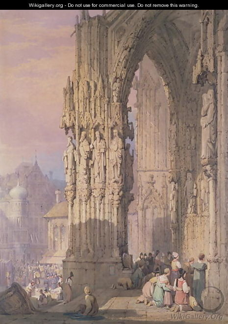 Porch of Regensburg Cathedral - Samuel Prout