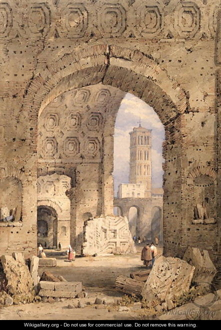 Temple of Peace, Roman Forum, 1825-50 - Samuel Prout