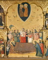 Polyptych of the Dormition of the Virgin, detail of the Dormition and Coronation - Jacopino di Francesco Pseudo