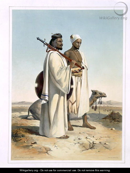 The Ababda, Nomads of the Eastern Thebaid Desert, illustration from The Valley of the Nile, engraved by Freeman, pub. by Lemercier, 1848 - Emile Prisse d