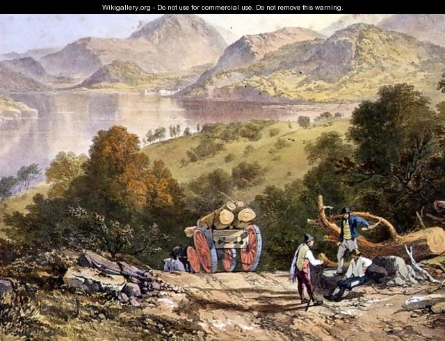 Ullswater, detail of a woodmans cart, from The English Lake District, 1853 - James Baker Pyne