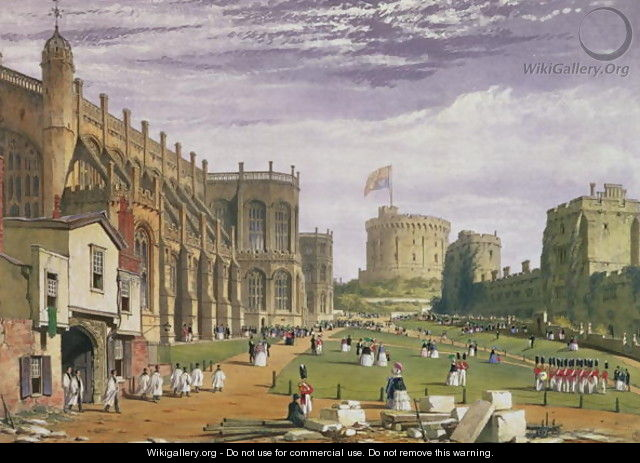 Lower Ward with a view of St Georges Chapel and the Round Tower, Windsor Castle, 1838 - James Baker Pyne
