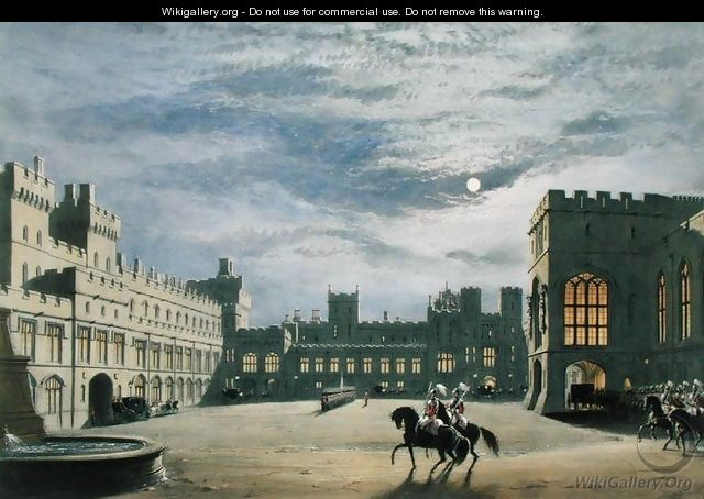 State arrival of a royal visitor, the Quadrangle by moonlight, Windsor Castle, 1838 - James Baker Pyne