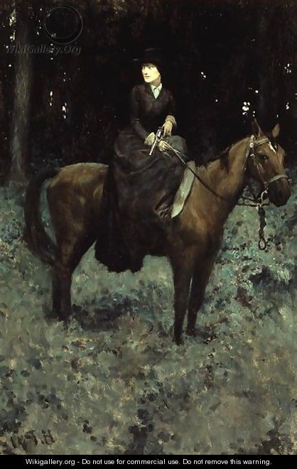 She Drew Bridle, Listening - There was No Sound, from Special Messenger by Robert W. Chambers, published in Harpers Monthly Magazine, February 1905 - Howard Pyle