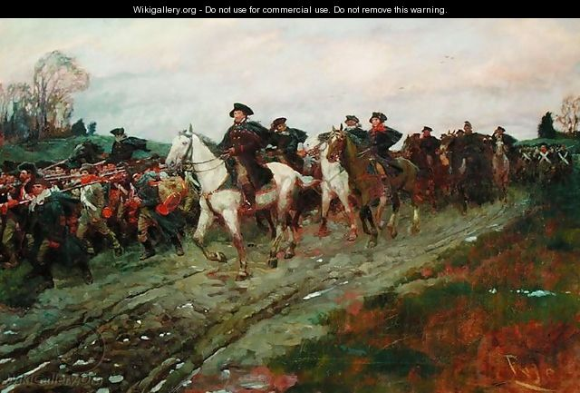 The Retreat through the Jerseys, from The Story of the Revolution by Henry Cabot Lodge (1850-1924, published in Scribners Magazine, April 1898 - Howard Pyle