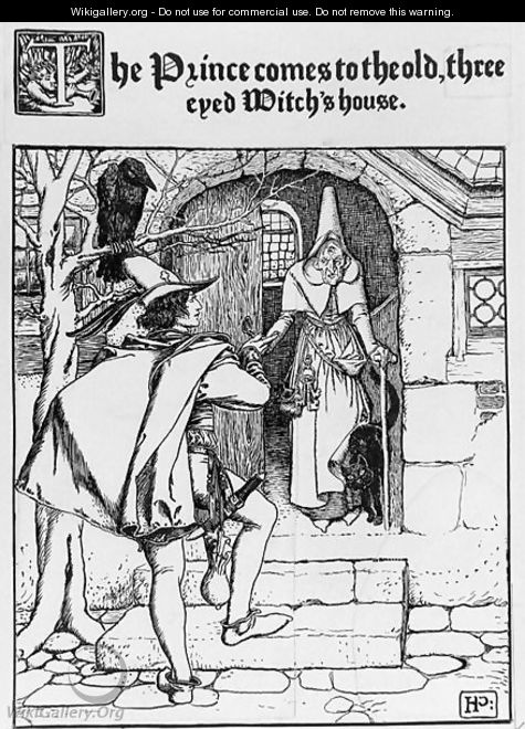 The Prince comes to the old three eyed Witchs house - Howard Pyle