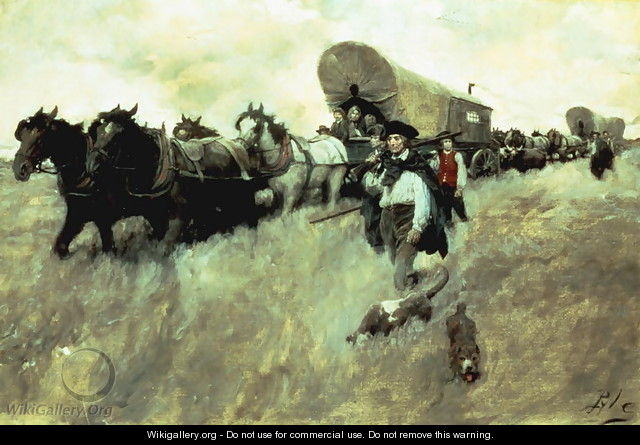 The Connecticut Settlers Entering the Western Reserve - Howard Pyle