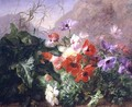 Still Life of Anemones in Undergrowth - Elise Puyroche-Wagner