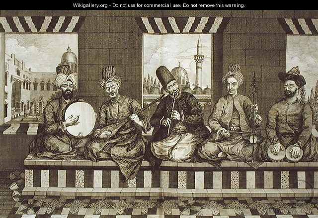 Syrian Musicians, plate 4 from Natural History of Aleppo, pub. by Patrick Russell, 1794 - (after) Russell, Alexander