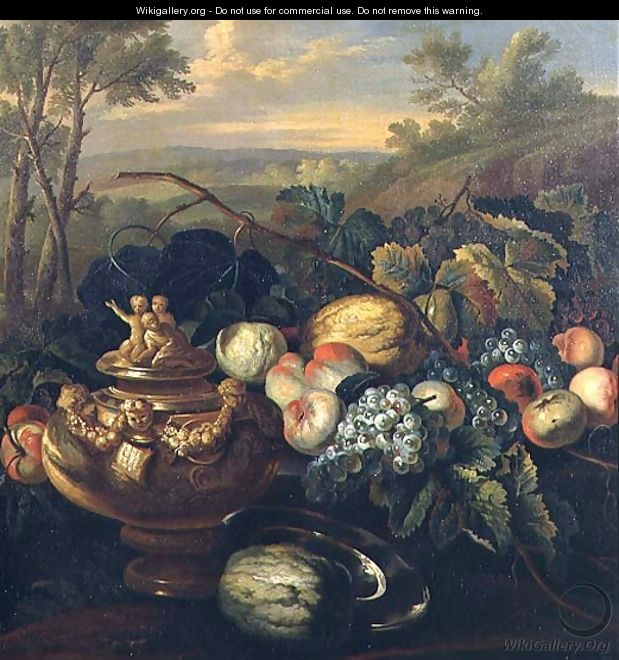 Urn and Fruit in a Landscape - (circle of) Ruoppolo, Giovanni-Battista