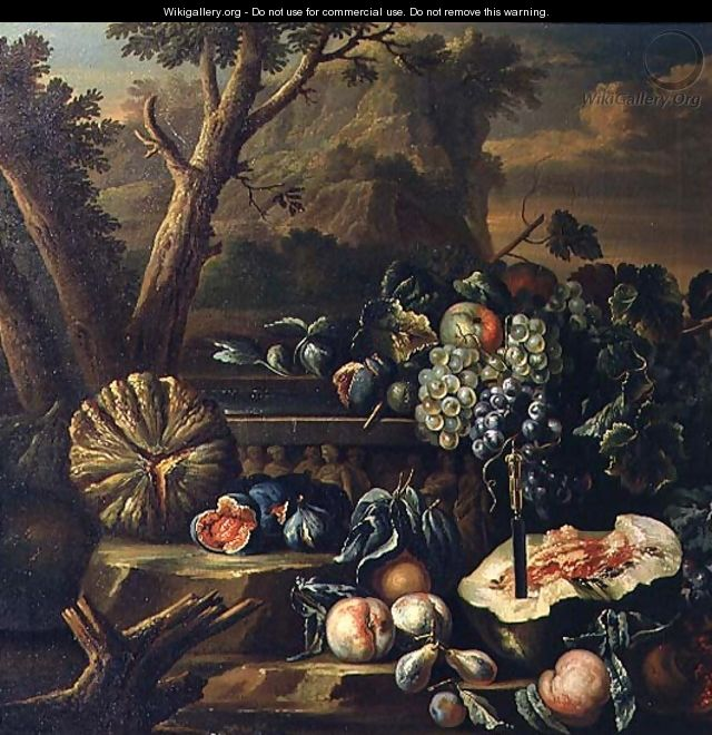 Still Life of Fruit in a Landscape - (circle of) Ruoppolo, Giovanni-Battista