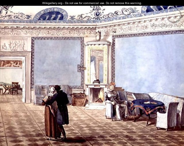 Neo-Classical Blue Drawing Room in St. Petersburg, 1819 - Anonymous Artist
