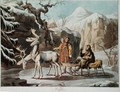 Yakuts of central Siberia in winter landscape, clad in furs and with a reindeer sledge, published 1813 - Anonymous Artist