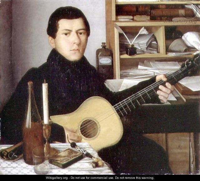 Portrait of a Young Man with a Guitar, c.1830 - Anonymous Artist