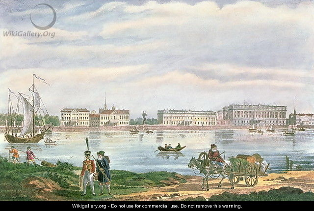 The Marble Palace and the Neva Embankment in St. Petersburg, 1822 - Anonymous Artist