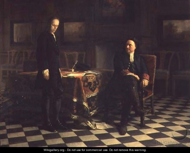 Peter I interrogating Tsetarevitch Aleksei Petrovich in Petershof, 1871 - Anonymous Artist