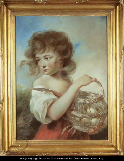 The Girl with a Basket of Eggs, c.1780 - John Russell