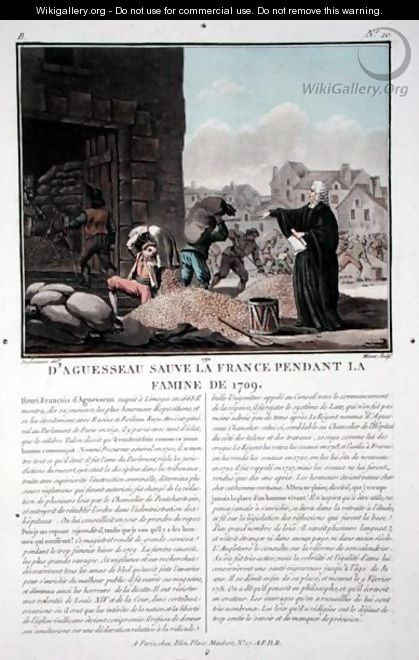 Henri-Francois dAguesseau 1668-1751 finding and distributing hoarded grain in Paris during the famine of 1709, engraved by Jean Baptiste Morret fl.1790-1820, 1792 - (after) Swebach, Jacques Francois Joseph