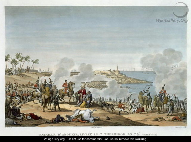 The Battle of Aboukir, 7 Thermidor, Year 7 25 July 1799 engraved by Louis Francois Couche 1782-1849 - (after) Swebach, Jacques Francois Joseph