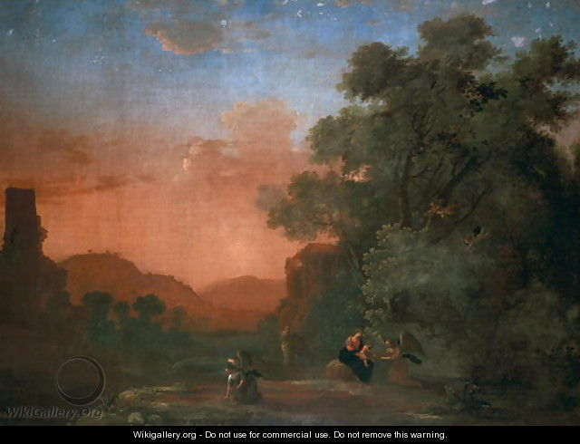 Landscape with the Flight into Egypt - Herman Van Swanevelt