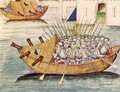 Soldiers armed with guns in a vessel with cannons, from the Berner Chronik, by Diebold Schilling the Elder c.1445-85 1483 - Anonymous Artist