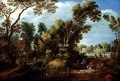 Wooded River Landscape with Figures - Maerten Ryckaert