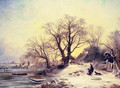 Figures outside a cottage in winter - Gustaf Fredrik Rydberg