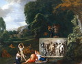 A Classical landscape with maidens dancing by a sarcophagus depicting the Triumph of Silenus - Pieter Rysbrack