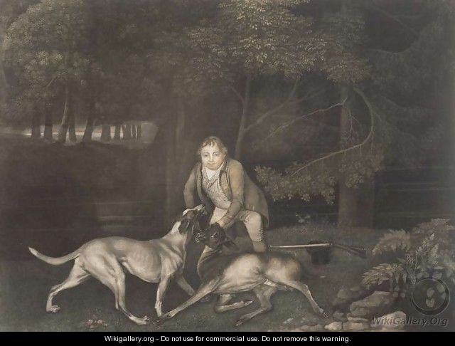 Freeman, Keeper to the Earl of Clarendon, with a hound and a wounded doe, 1804 - (after) Stubbs, George