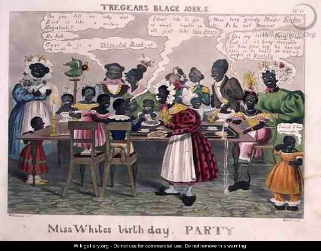Miss Whites Birthday Party, from Tregears Black Jokes, by Hunt, published by T.S. Tregear, London, 1834 - (after) Summers, W.