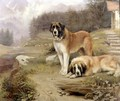 Two St. Bernards in an Alpine Landscape - Leghe Suthers