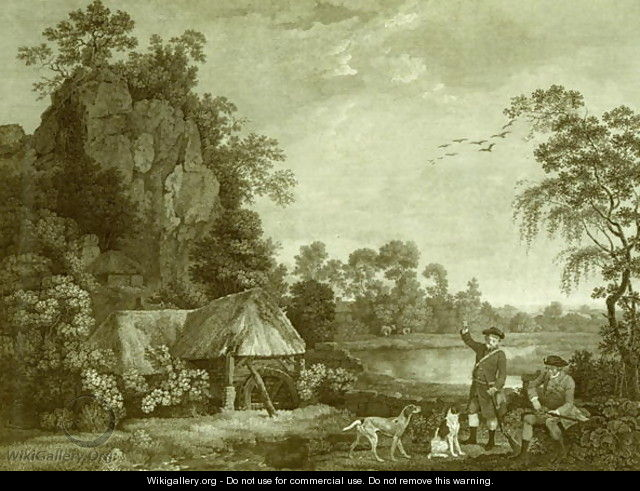 Two Gentlemen Going a Shooting, with a View of Creswell Crags, Taken on the Spot, Plate 1 - George Stubbs