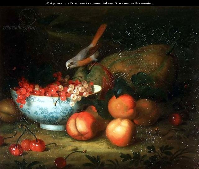 Still Life of fruit with a Finch - Tobias Stranover