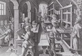 The Development of Printing, plate 5 from Nova Reperta New Discoveries engraved by Philip Galle 1537-1612 c.1600 - (after) Straet, Jan van der (Giovanni Stradano)
